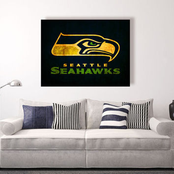 Seattle Seahawks vintage style Canvas Print, Wall Art, Wall Decor, Vintage, Grunge