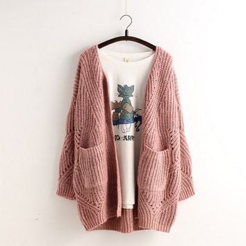 Fashion Hollow Out Loose Knit Cardigan Jacket Coat