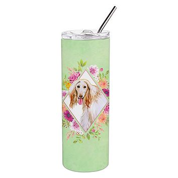 Afghan Hound Green Flowers Double Walled Stainless Steel 20 oz Skinny Tumbler CK4270TBL20