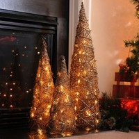 Pre-Lit Bronze Christmas Tree, Set of 3