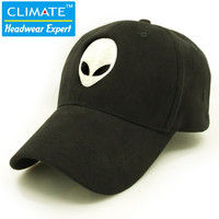 Hot sales aliens Outstar saucer Space E.T UFO fans black cotton fabric baseball cap hat for kid children teenage adult men women