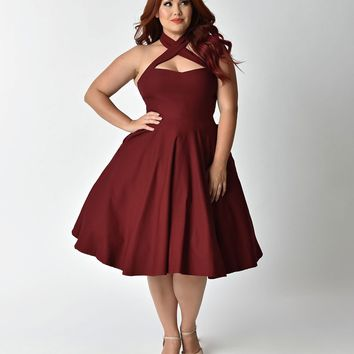 Unique Vintage Plus Size 1950s Burgundy Red Cross Halter Rita Flare Dress