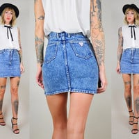 GUESS 80's Acid Wash Denim high waist Mini Pencil SKIRT Jean bandage body con tight xxs /xs