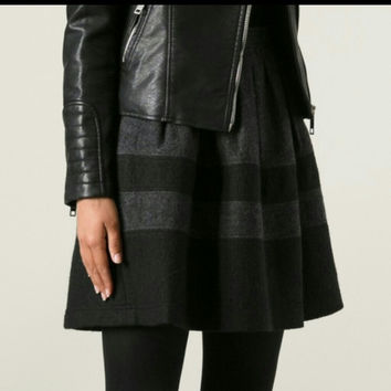 Nwt Burberry Brit Black & Grey Skater Skirt
