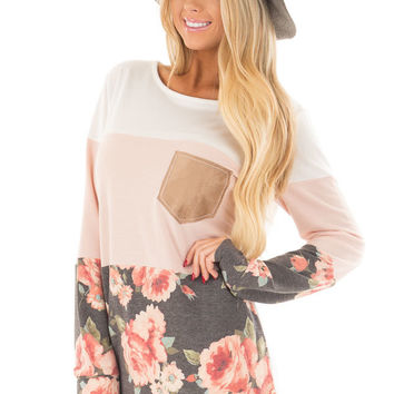 Ivory and Blush Color Block Top with Front Pocket