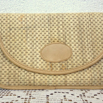 Straw Clutch, Woven Bag, Summer Purse, Sisal Handbag, Jute Bag, Cream Beige Bag, Beach Clutch, 70s Clutch Wallet, Festival Bag, Raffia Purse