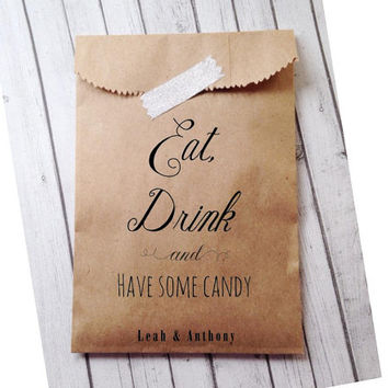 Candy Bags, Wedding Favor Bags ,Favor Bag for Bridal Shower or Candy Buffet  Personalized Recycled Favors, Custom Wedding Favors