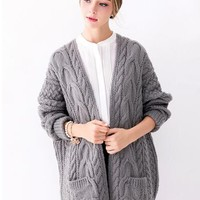 Gray Pocket Cable Open Front Chunky Cardigan