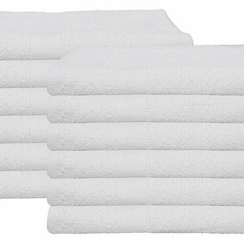 Gold Textiles 12 NEW 100% COTTON ECONOMY BATH  TOWELS WHITE (20X40) 5lb/dz SOFT & QUICK DRY