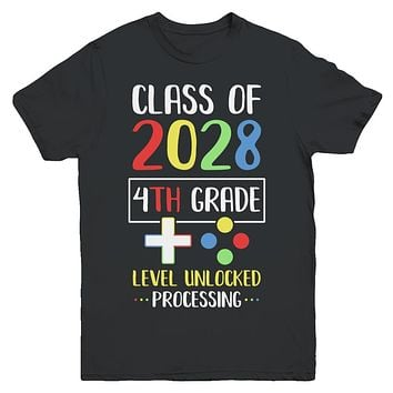 Class Of 2028 4th Grade Level Unlock Gaming Back Go School Youth
