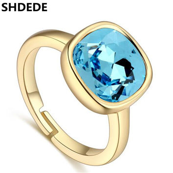 SHDEDE 2017 New Rings For Women Engagement Big Blue Crystal from Swarovski Fashion Jewelry Crystal Rings  24786