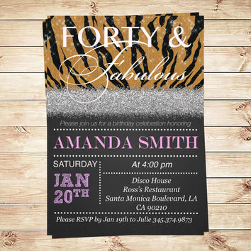 Forty and fabulous brown zebra birthday party invitations, 40 And Fabulous Invitations and Announcements, Art Party Invitation