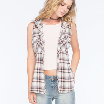 Polly & Esther Hooded Womens Flannel Tank Peach  In Sizes