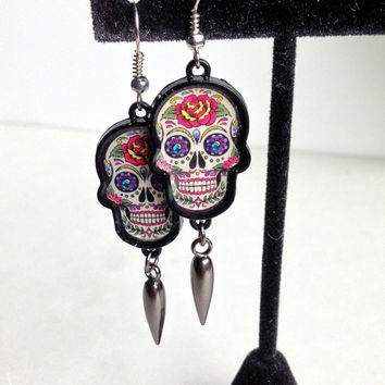 Sugar Skull Jewelry, Day of the Dead, Skeleton Earrings, Goth Style, Halloween Accessory, Metal Dangle, Painted Skull, Creepy Things