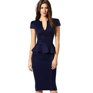 Vfemage Womens Peplum Elegant Sexy Deep V Neck Cap Sleeve Tunic Slim Casual Party Club Clubwear Bodycon Sheath Pencil Dress 2113