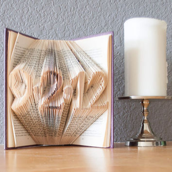 Folded Book Art- Book Lovers-Wedding Date-Home Decor-Paper Anniversary-Birth Date