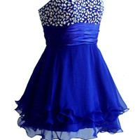 Faironly Wb2 Crystal Cocktail Homecoming Short Dress (S, Navy) - save winkie Shop