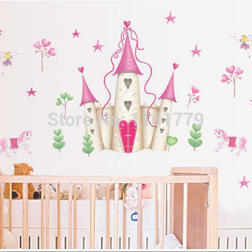 DF5083 new arrival Removable Pink Princess Castle Girl room Tower Wall sticker for Girls Kids Children Bedroom Wall Mural