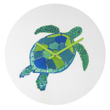 Laura Trevey Sea Turtle Round Clock
