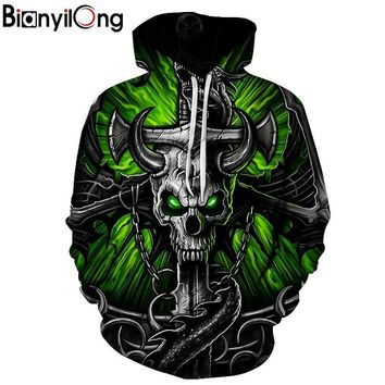 Skull Hoodies green eyes ox horn Print Style Men 3d Sweatshirts Hooded Casual Sweatshirt