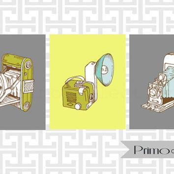 Retro Camera posters set of three / 3 8x10 inch trio / gray and yellow / vintage camera art prints