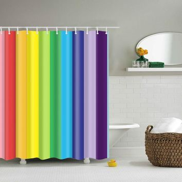 Colorful Rainbow shower curtain Midlewproof in 2 sizes 150*180cm & 180*180cm