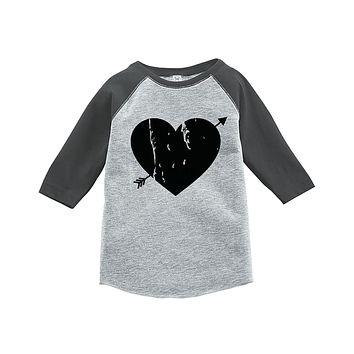 Custom Party Shop Kids Heart Happy Valentine's Day Grey Raglan