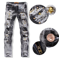 Men's Ripped Jeans With Sequined Skulls