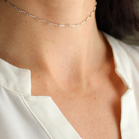 Soho Bar Chain Choker Necklace - Christine Elizabeth Jewelry