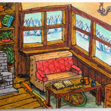 Original aceo drawing card of a cottage house interior with a fireplace and a window view 'Winter spirits', 'Across the window' ACEO series