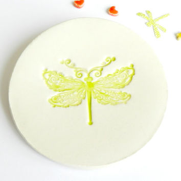 Ceramic Ring Holder Dragonfly Apple Green Pottery Dish Ivory Pottery Plate Holiday Decoration