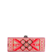 Edie Parker Flavia Embroidered-Inlay Clutch Bag