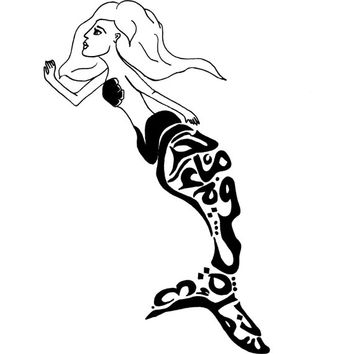Mermaid Woman Girl Arabic Calligraphy Drawing Original Art