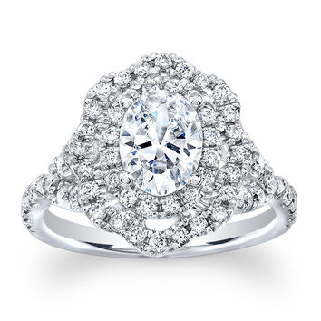 Ladies 14k white gold Oval double diamond halo engagement ring with 1.50ct white sapphire center 0.80 ctw G-VS