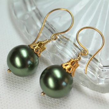 Green Christmas Earrings, Holiday Jewelry, Ball Ornament, Large Glass Pearl, 14k Gold Filled, Wire Wrapped