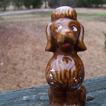 Vintage Redware Poodle Dog Figurine...Sneaky Dog...Mid Century...Brown...Cottage Chic...Canine...Kitsch
