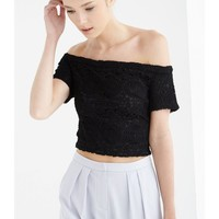 Black Lace Bardot Style Crop Top | Crop Tops