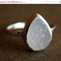 Valentines Day Sale Silver White Agate Druzy Ring - Teardrop - Sterling, Stacking Ring