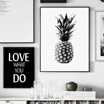 Pineapple Print, Black and White Pineapple Print, Tropical Print, Printable Art, Black and White, Scandinavian Style, Affiche Geometrique