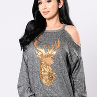 You're Too Deer To Me Sweater - Black