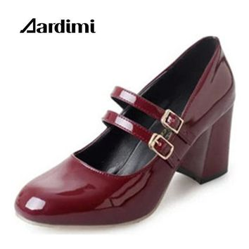 Classical Mary Janes shoes women oxford shoes autumn solid high heel shoes women pumps