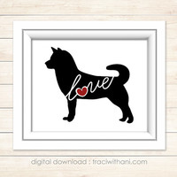 INSTANT DOWNLOAD: Shiba Inu - Silhouette, Print, Digital, Heart, Dog, Puppy, Breeds, Gift, Wall Art, Artwork, Printable, Christmas
