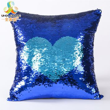 Glitter Mermaid Sequin Cushion DIY Two Tone Changing Colors Sequins Pillowcase 40*40cm Hidden Zipper Suede Fabric Cover Decor