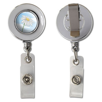 White Daisy on Blue Sky - Flower Retractable Reel Chrome Badge ID Card Holder