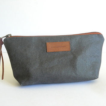 Handmade vintage Gray resin canvas pouch - Pencil case