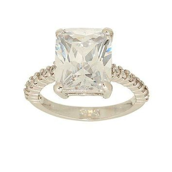 Large Emerald Cut Clear Cubic Zirconia Solitaire Ring with Tiny Side Stones