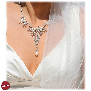Pearl Drop Bridal Wedding Necklace Earrings Jewelry Set