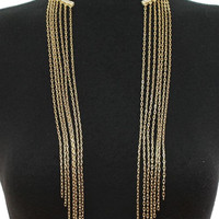 Unique Metal Fringed Link Chain Choker Necklace & Matching Earring Set Gold & Silver