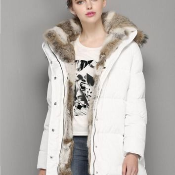 Rabbit hair down jacket in the long section of thick down jacket women White