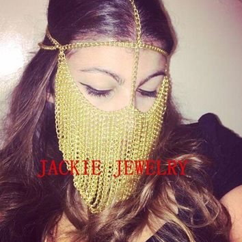 ac DCCKO2Q FREE SHIPPING NEW STYLE B706 Women Gold Chains Sexy Layers Face Head Chains Unique Design Mask Chains Jewelry 3 Colors